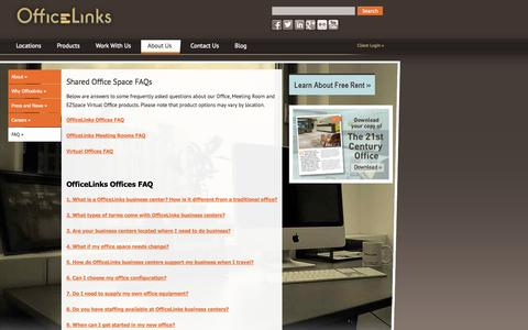 Screenshot of FAQ Page officelinks.com - Shared Office Space FAQs | OfficeLinks - captured Oct. 27, 2014
