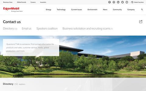 Screenshot of Contact Page exxonmobil.com - Contact us | ExxonMobil - captured July 26, 2018