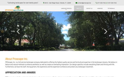 Screenshot of About Page proscape.biz - Amazing Condominium And Other Landscape Services In Tampa - captured Nov. 9, 2018