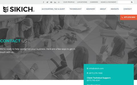 Screenshot of Contact Page sikich.com - Contact Us | Sikich LLP - captured Jan. 30, 2018