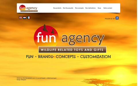 Screenshot of Home Page the-fun-agency-luxembourg.com - THE FUN AGENCY OFFICIAL DISTRIBUTOR WILD REPUBLIC BELGIUM & NEDERLAND - captured Oct. 6, 2014