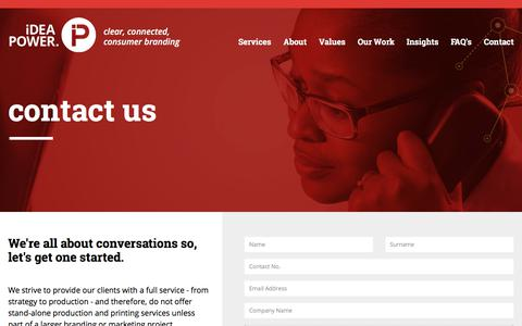 Screenshot of Contact Page ideapower.co.za - Contact Us | Branding & Marketing That Connects | Idea Power - captured Sept. 12, 2018