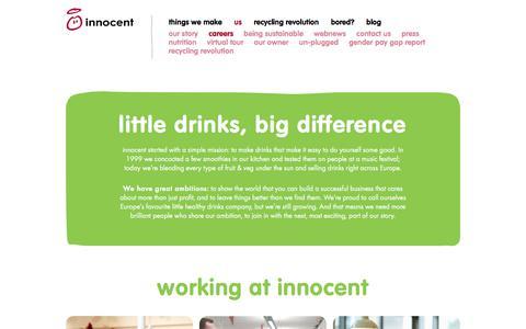 Screenshot of Jobs Page innocentdrinks.co.uk - innocent – 100% pure fruit smoothies, orange juice, kids smoothies and tasty veg pots - captured July 6, 2018