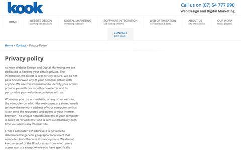Screenshot of Privacy Page kook.com.au - Privacy Policy, Contact, Sunshine Coast Web Design - captured Feb. 7, 2019