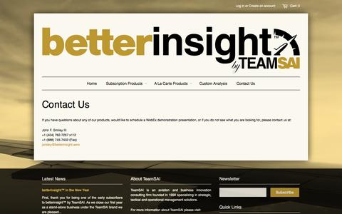 Screenshot of Contact Page betterinsight.aero - Contact Us – betterinsight™ by TeamSAI - captured Oct. 5, 2014
