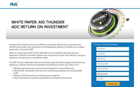 Screenshot of Landing Page a10networks.com - A10 ADC Return On Investment - captured March 25, 2016