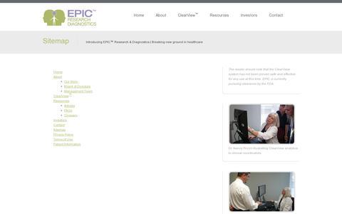 Screenshot of Site Map Page epicdiagnostics.com - Sitemap | EPIC™ Research & Diagnostics, Inc. - Innovating a new model of medicine - captured July 19, 2014