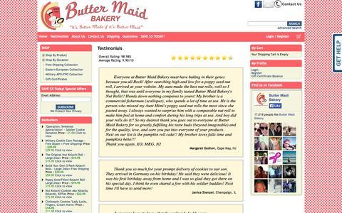 Screenshot of Testimonials Page buttermaidbakery.com - Buy Homemade Cookies & Nut Rolls Online - Butter Maid Bakery - captured Sept. 30, 2014