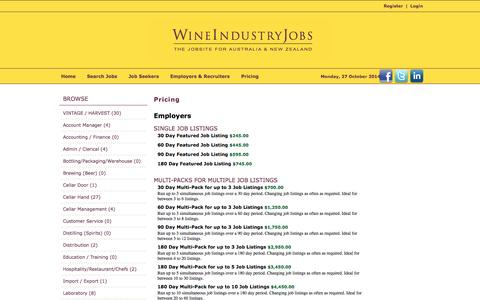 Screenshot of Pricing Page wineindustryjobs.com.au - Wine Industry Jobs - captured Oct. 26, 2014