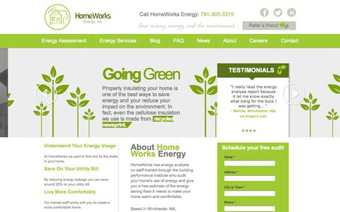 Screenshot of Home Page homeworksenergy.com - Massachusetts Home Energy Audits | Homeworks Energy - captured Sept. 30, 2014