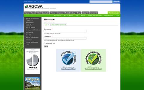 Screenshot of Login Page agcsa.com.au - My account - AGCSA - captured Sept. 30, 2014