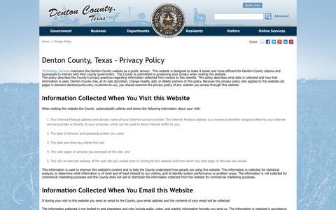 Screenshot of Privacy Page dentoncounty.com - Privacy Policy - Denton County, Texas - captured Oct. 31, 2014