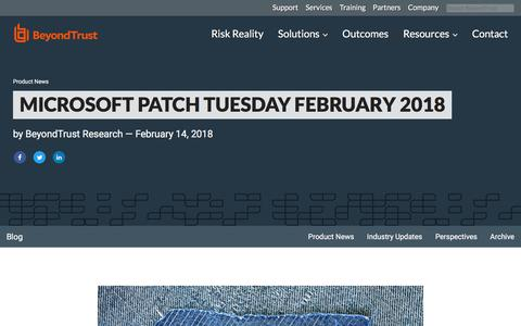Screenshot of Blog beyondtrust.com - Microsoft Patch Tuesday February 2018 | BeyondTrust - captured Jan. 3, 2020