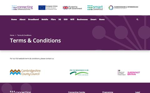 Screenshot of Terms Page connectingcambridgeshire.co.uk - Terms & Conditions | Connecting Cambridgeshire - captured July 20, 2018