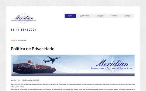 Screenshot of Privacy Page imeridian.com.br - Meridian Assessoria em Comércio Internacional - captured May 27, 2016