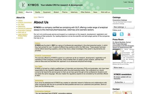 Screenshot of About Page kymos.com - About Us / Home - KYMOS  - Servicios analíticos integrales - captured Oct. 6, 2014