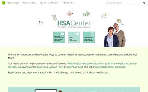 Screenshot of Home Page hsacenter.com - HSACenter – Health Savings Accounts - captured Sept. 2, 2016