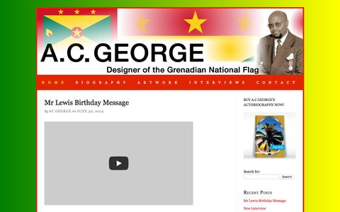 Screenshot of Home Page acgeorge.com - A C George — About the Grenadian artist and National flag designer Anthony C. George - captured Sept. 23, 2015