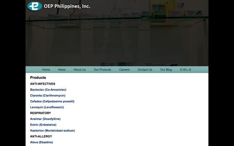 Screenshot of Products Page oep.com.ph - Products «  OEP Philippines Inc. - captured Oct. 6, 2014
