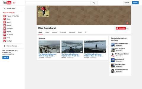 Screenshot of YouTube Page youtube.com - Mike Brockhurst  - YouTube - captured Oct. 27, 2014