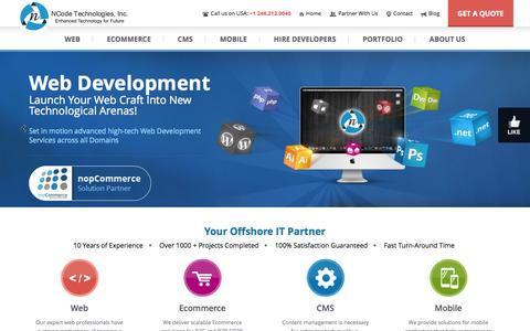 Screenshot of Home Page ncodetechnologies.com - Web Design Company India, Web Development, PHP, ASP.NET, Open Source, Mobile Apps, SEO Services India - captured Sept. 18, 2014