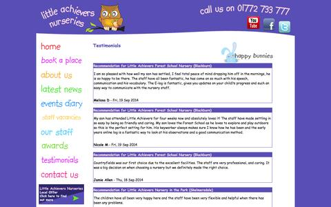 Screenshot of Testimonials Page rosyapplechildcare.com - Rosy apple childcare testimonials - captured Oct. 6, 2014