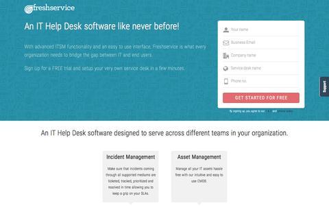 Screenshot of Landing Page freshservice.com - Freshservice ITSM | ITIL-ready service desk software - captured April 1, 2016
