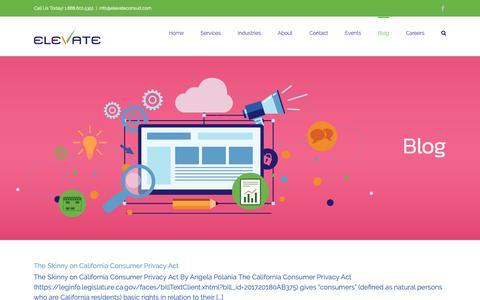 Screenshot of Blog elevateconsult.com - Blog – Elevate - captured Sept. 27, 2018
