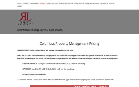 Screenshot of Pricing Page rlpmg.com - Pricing — RL Property Management - captured Oct. 22, 2017