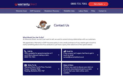 Screenshot of Contact Page warrantydirect.co.uk - How To Get In Touch With Warranty Direct - captured July 14, 2018
