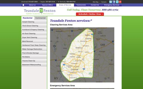 Screenshot of Locations Page teasdalefenton.com - Teasdale Fenton | Residential & Commercial Cleaning | Greater Cincinnati, Northern Kentucky and Dayton, OH - captured Feb. 14, 2016