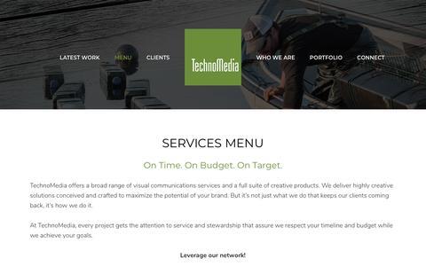 Screenshot of Menu Page technomediapei.com - Services Menu - TechnoMedia PEI - captured Sept. 21, 2018