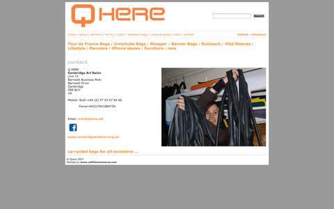 Screenshot of Contact Page qhere.net - Shopping bags, school bags, handbags, shoulder bags - captured Oct. 1, 2014