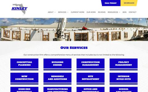 Screenshot of Services Page kinleyfl.com - Services - Kinley Construction - captured June 9, 2017