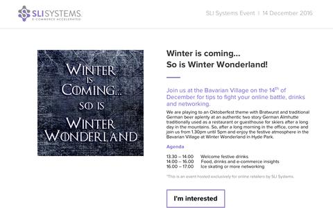 Screenshot of Landing Page sli-systems.com - Winter is coming...   SLI Systems Event - captured Dec. 17, 2016