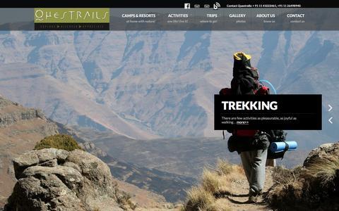 Screenshot of Home Page questrails.com - the adventure travel company - captured Dec. 15, 2015