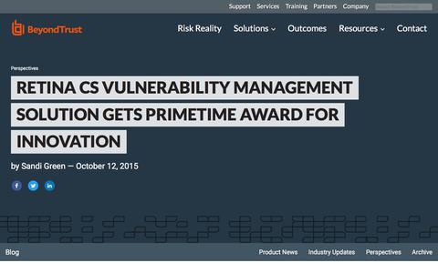 Screenshot of Team Page beyondtrust.com - Retina CS Vulnerability Management Solution Gets Primetime Award for Innovation | BeyondTrust - captured Jan. 3, 2020