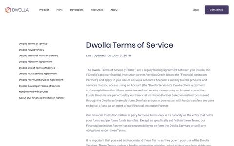 Screenshot of Terms Page dwolla.com - Dwolla Terms of Service   Dwolla - captured July 23, 2019