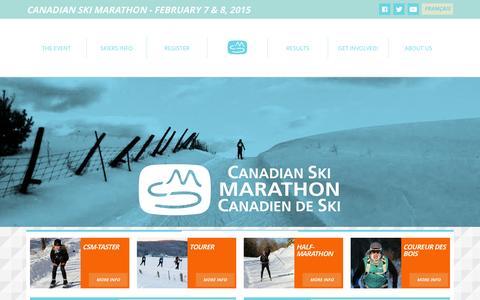 Screenshot of Home Page csm-mcs.com - Canadian Ski Marathon   Become part of the legendCanadian Ski Marathon - captured Oct. 1, 2014