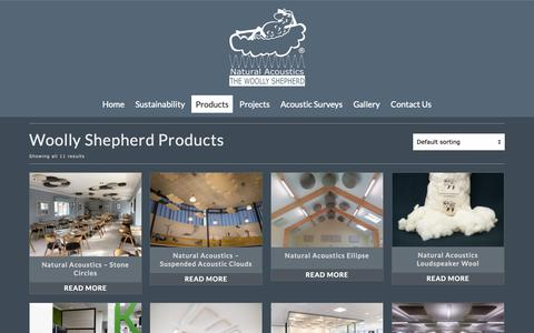 Screenshot of Products Page woollyshepherd.co.uk - Products - Natural Acoustic Treatment - The Woolly Shepherd - captured May 30, 2019