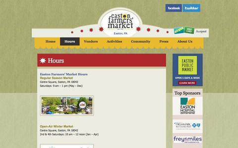 Screenshot of Hours Page eastonfarmersmarket.com - Hours :: EFM Website - captured July 11, 2016