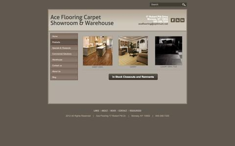 Screenshot of Products Page aceflooring.net - Products - Ace Flooring Carpet Showroom & Warehouse - captured Oct. 4, 2014