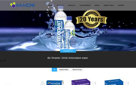 Screenshot of Products Page alkazone.com - The pioneer of Alkaline Antioxidant Water |   PRODUCTS - captured Oct. 5, 2014