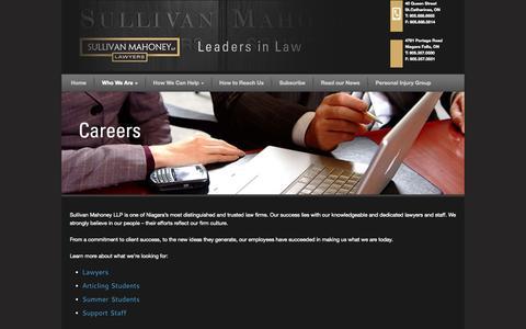 Screenshot of Jobs Page sullivanmahoney.com - Careers at Sullivan Mahoney Barristers and Solicitors | St. Catharines & Niagara Falls Law Office Jobs | Sullivan Mahoney LLP - captured Oct. 7, 2014