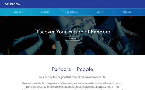 Screenshot of Jobs Page pandora.com - Pandora | Careers - captured June 22, 2016