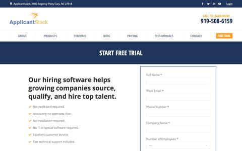Screenshot of Trial Page applicantstack.com - Start Free Trial - ApplicantStack - captured Dec. 4, 2017