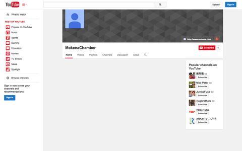 Screenshot of YouTube Page youtube.com - MokenaChamber  - YouTube - captured Nov. 3, 2014