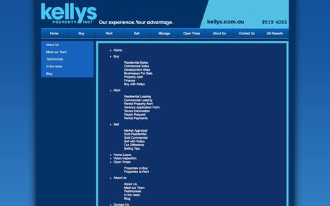 Screenshot of Site Map Page kellys.com.au - Kelly & Sons Real Estate - captured Oct. 6, 2014