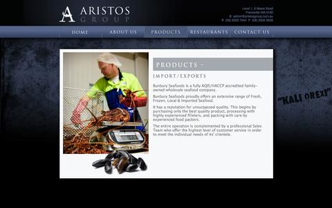 Screenshot of Products Page aristos.com.au - PRODUCTS - captured Oct. 4, 2014