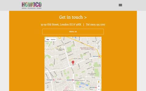 Screenshot of Contact Page howoco.com - Howoco contact - captured Dec. 13, 2015